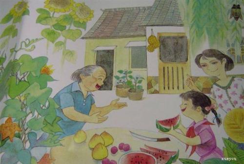 吃西瓜,爸爸妈妈分西瓜,先拿给奶奶爷爷吃