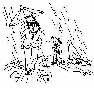 下雨给老爷爷打伞,下雨帮助别人,一起打伞作文图片